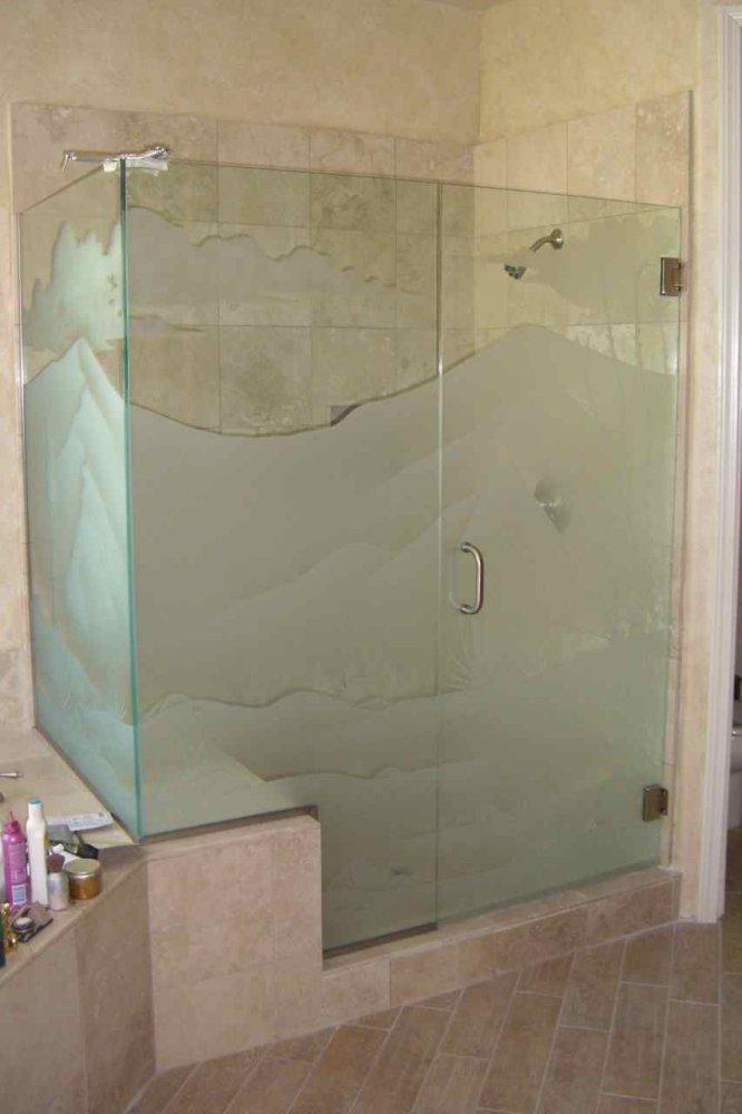 Dsrt Octlo Glass Shower Doors Etched Glass Western Decor