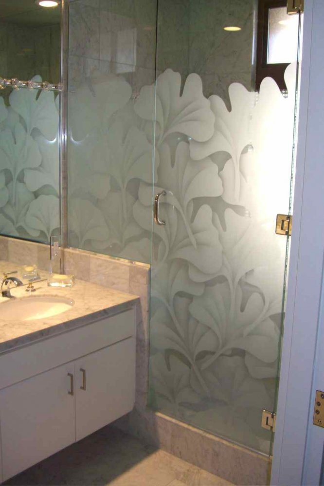 fremeless glass shower doors etched glass Asian style thick foliage ginkgo leaves sans soucie