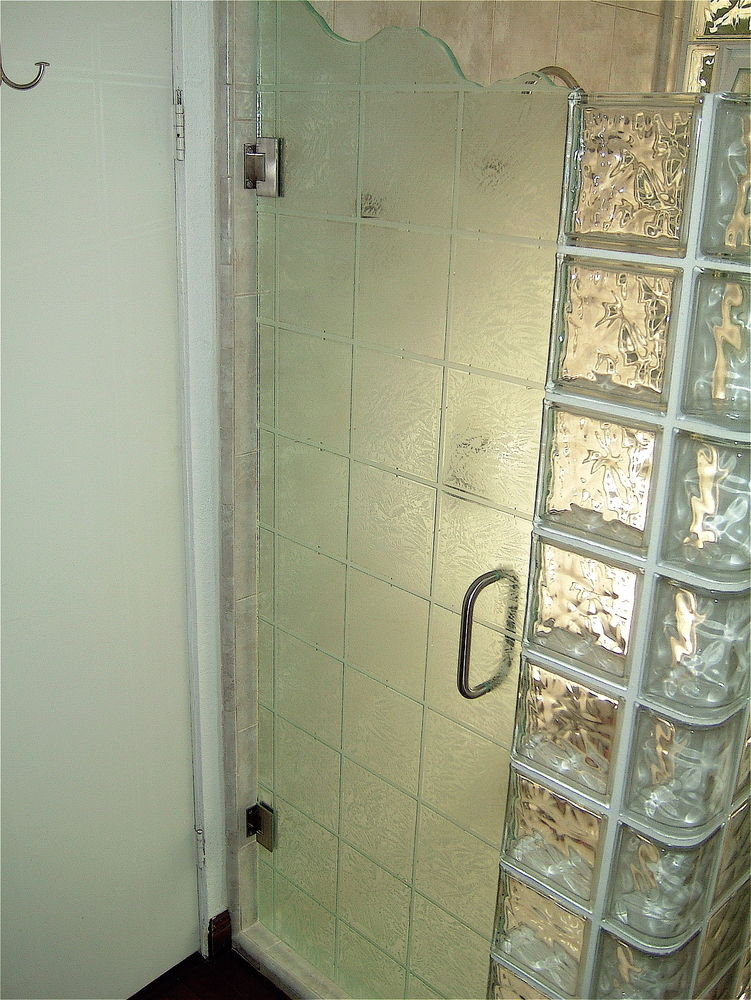 Decorative Floral Glass Shower Door Glass Shower Enclosures Etched Glass Modern Decor Geometric Pattern