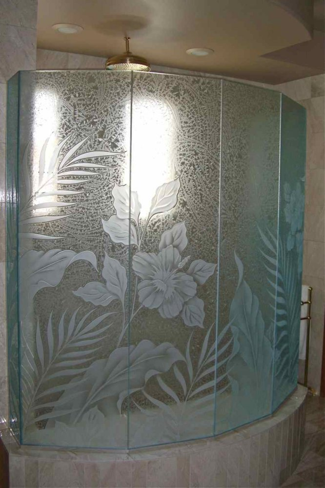 And shower enclosures with sandblasted windows and door glass - Hibiscus Paradise Glass Shower Etched Glass Tropical Style
