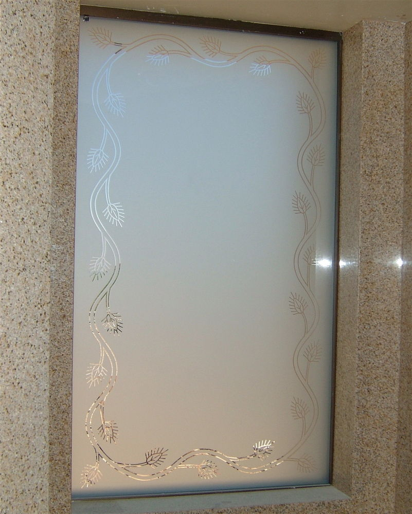 Acorn Border Glass Window Etched Glass Rustic Style