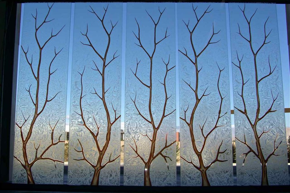 Branch Out Glass Window Etched Glass Rustic Design