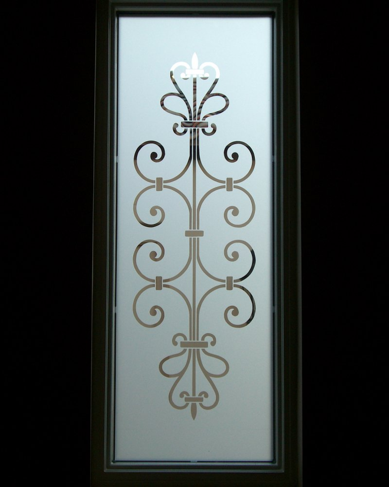 Clear ironwork glass window etched glass victorian decor for Window glass design