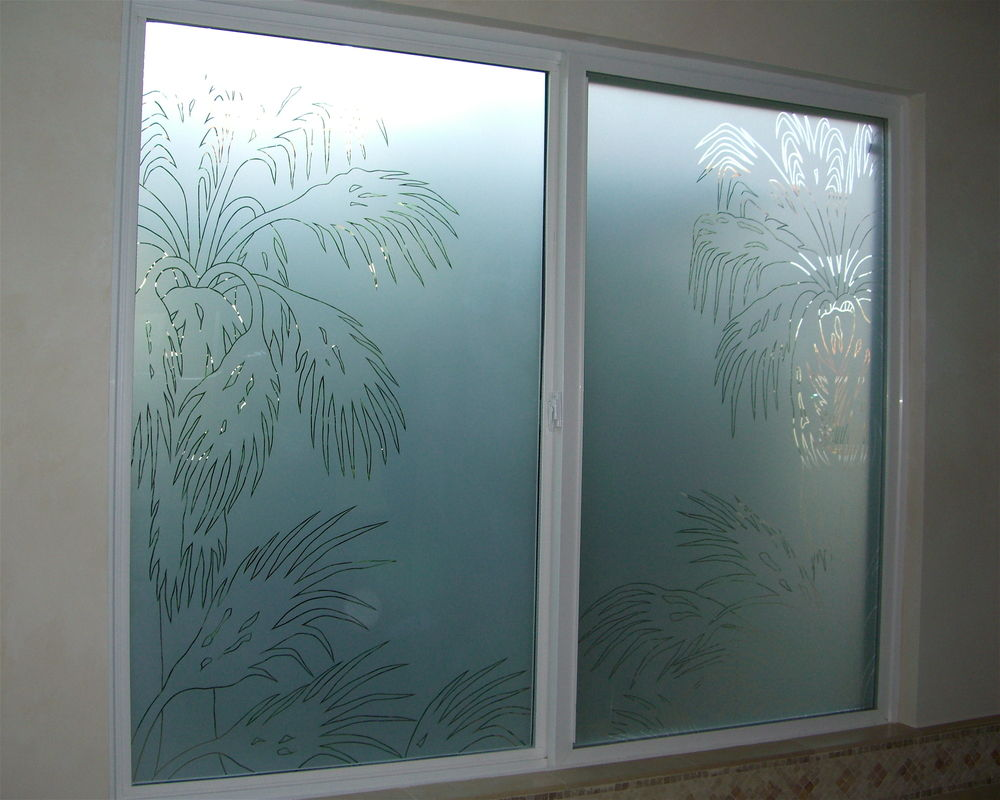 Date palm pncls glass window etched glass western decor for Glass decorations for windows