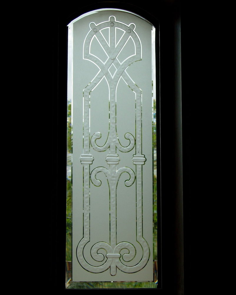 Iron bars v glass window etched glass tuscan design for Window etching