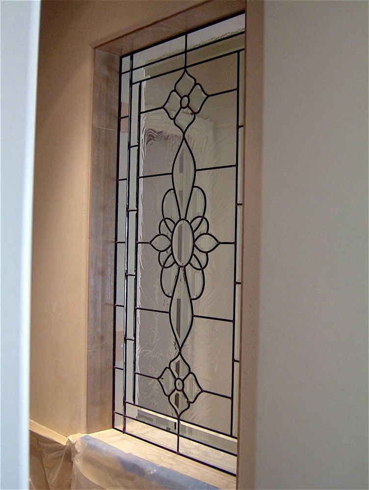 Leaded rosette glass window stained glass french decor for Glass decorations for windows