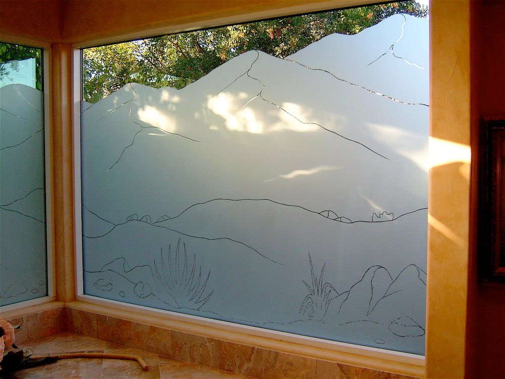 Mtns ps iii glass window etched glass western design for Window glass design