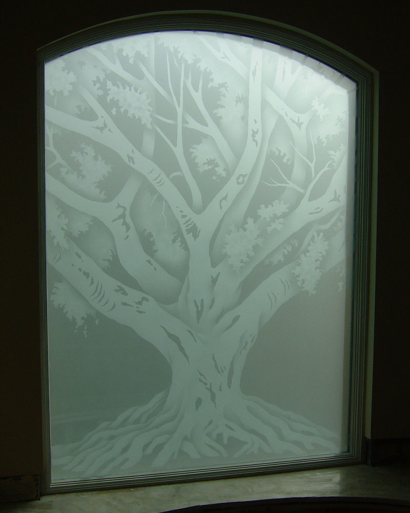 Oak Tree Glass Window Etched Glass Rustic Design