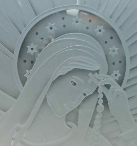 Our Lady of Lourdes Glass Window Etched Glass Portraiture
