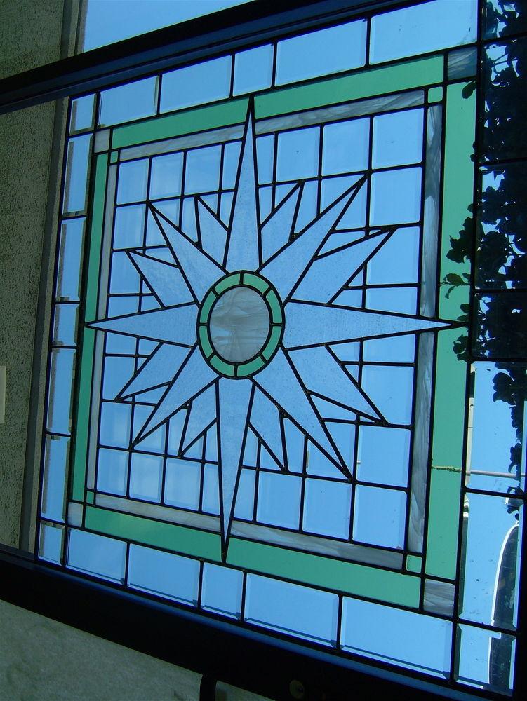 Starburst glass window beveled glass art deco design for Art deco glass windows