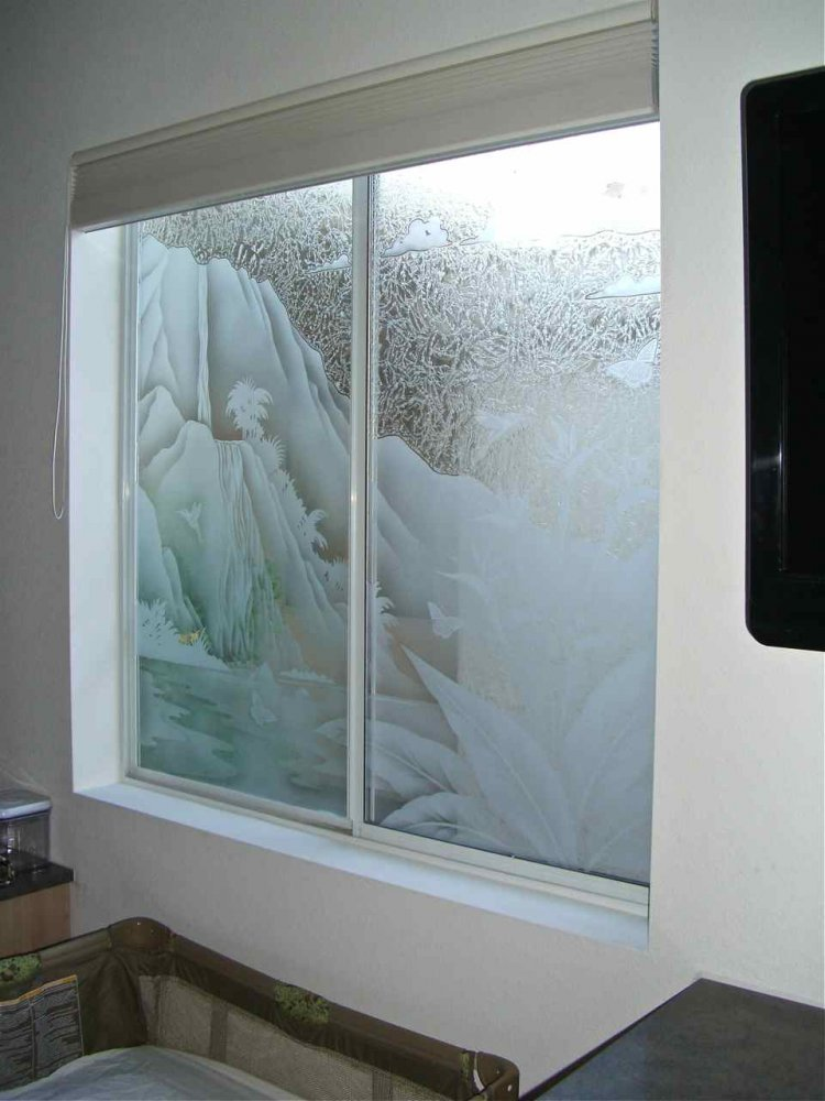 Trpcl waterfall glass window etched glass tropical style for Window pane designs