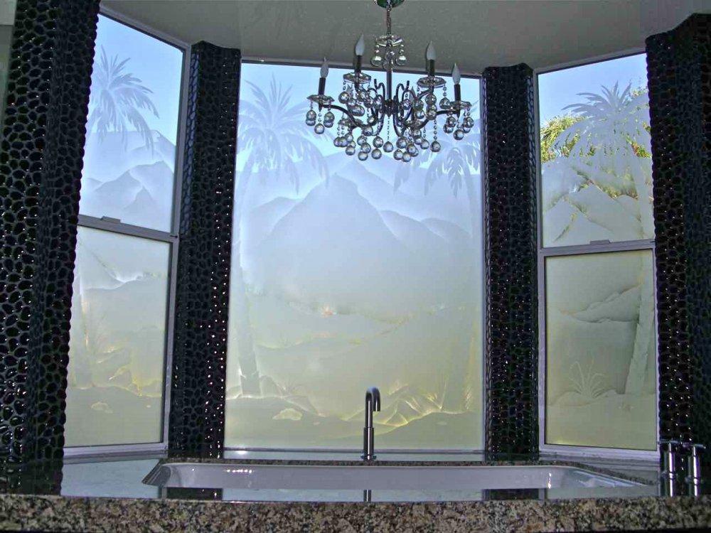 Plm Tr Drt Lndscp Glass Windows Etched Glass Rustic Style
