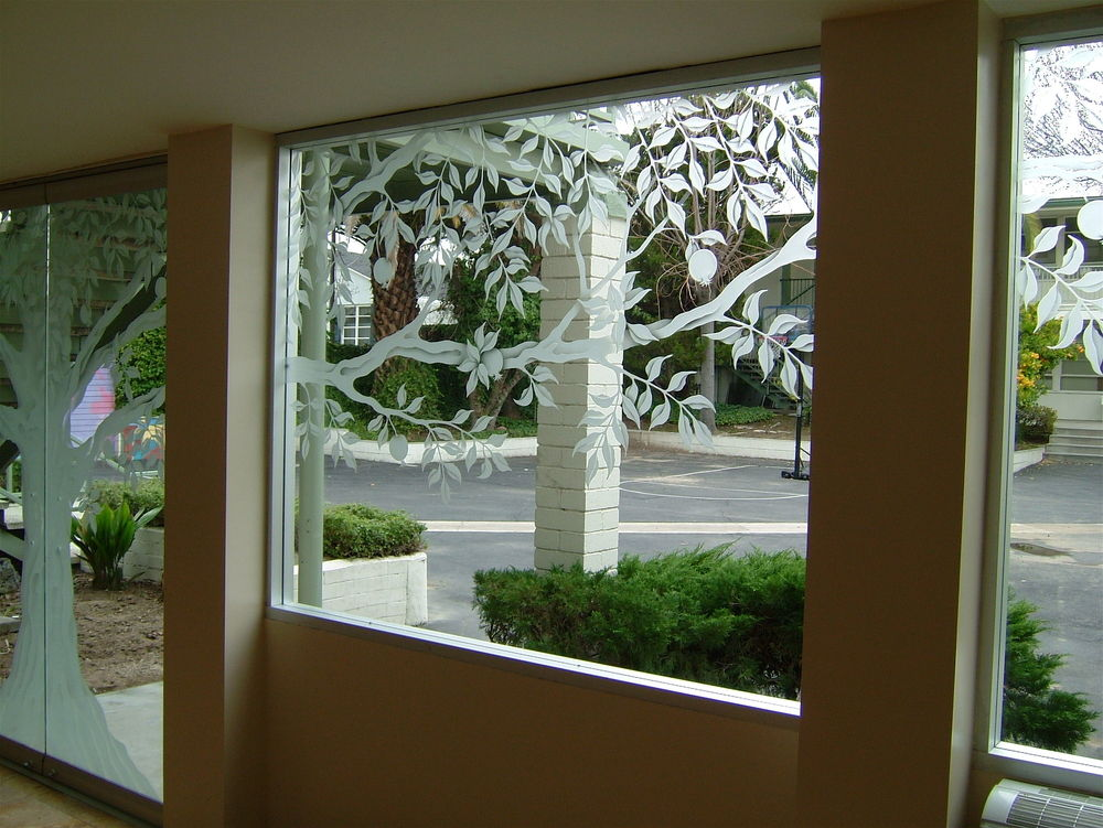 Tree of life glass windows etched glass rustic design for House window glass design