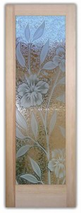 Hibiscus 3D Etched Glass Doors Tropical Decor