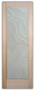 Hibiscus Waves 3D Private Etched Glass Doors Beach Decor