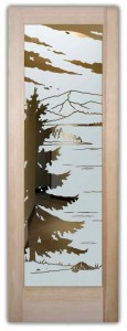 Lake Arrowhead Rustic Design Etched Glass Front Doors