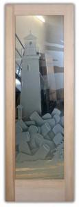 Lighthouse 3D Etched Glass Doors Nautical Decor