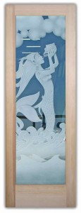 Mermaid 3D Etched Glass Doors Beach Decor