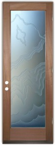 Rugged Retreat II 3D Private Etched Glass Doors Rustic Decor