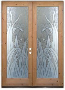 Reeds 3D Gluechipped Tropical Design Etched Glass Doors
