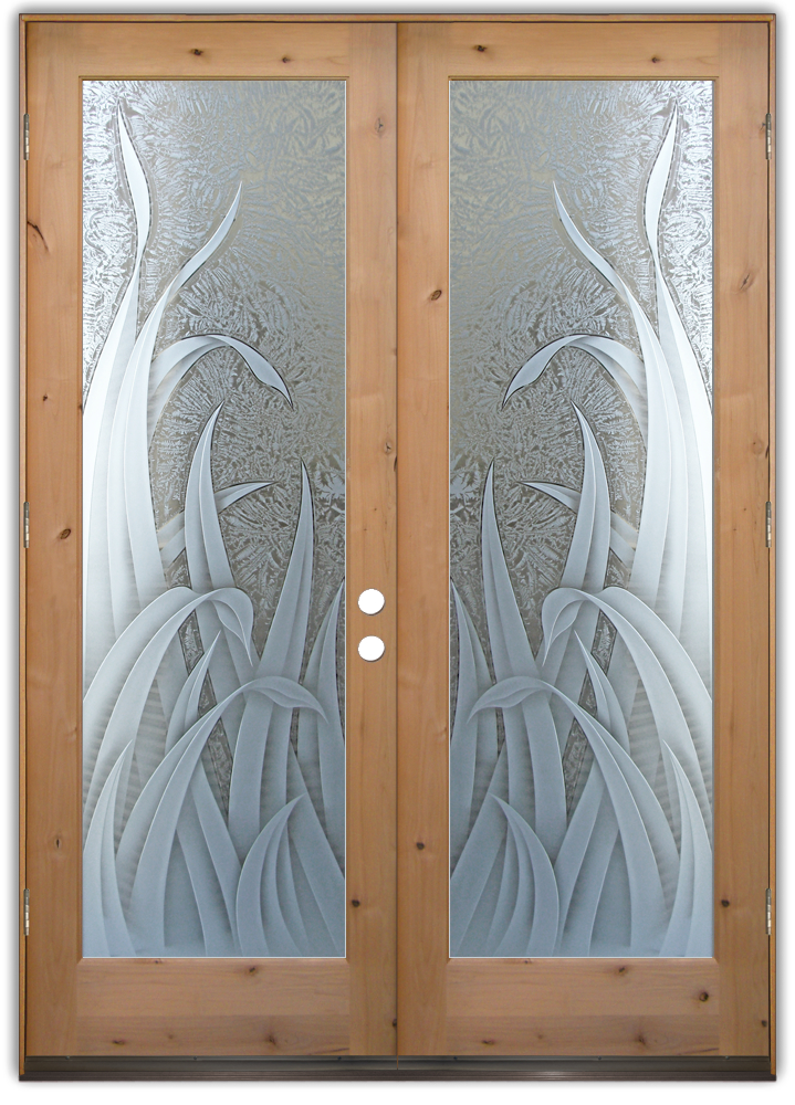 Reeds 3d etched glass doors tropical design sans soucie for Etched glass entry doors