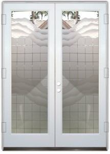 Squares and Waves 2D Pair Glass Doors