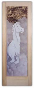 Stallion I 2D Etched Glass Doors Western Decor