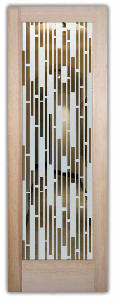 Strips vert lg etched glass front doors modern decor
