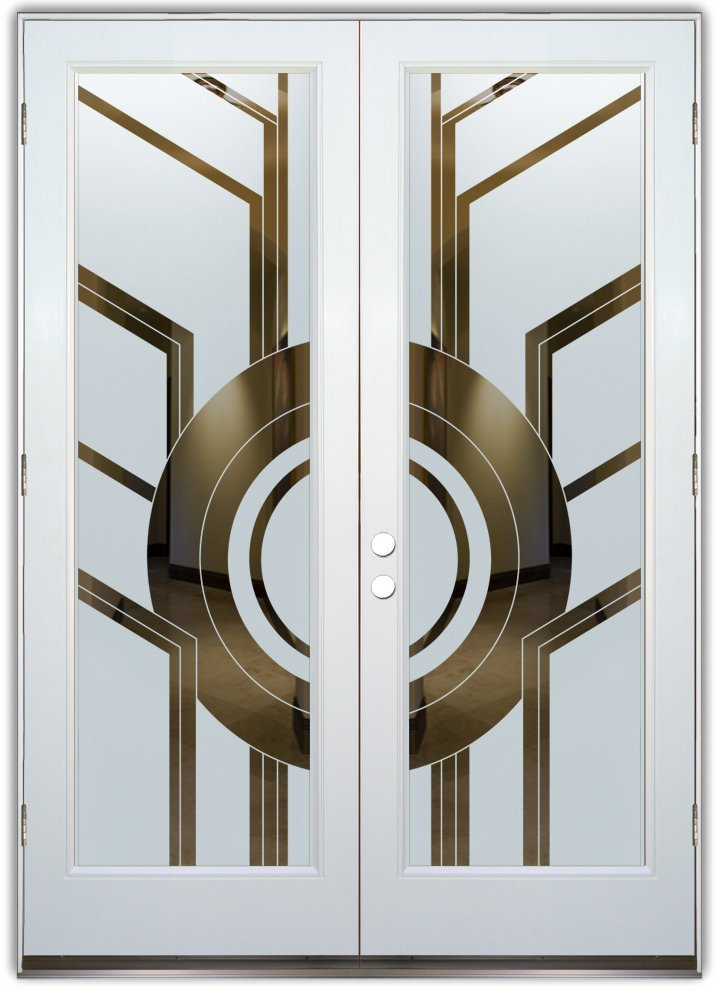 Sun Odyssey Etched Glass Entry Way Doors Modern Style