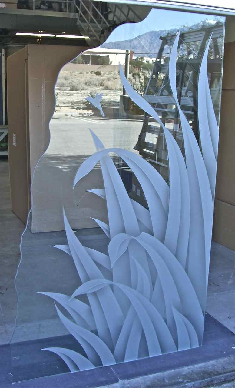 custom shower glass etched reeds