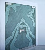 Frameless Glass Doors With Etched Glass Art By Sans Soucie