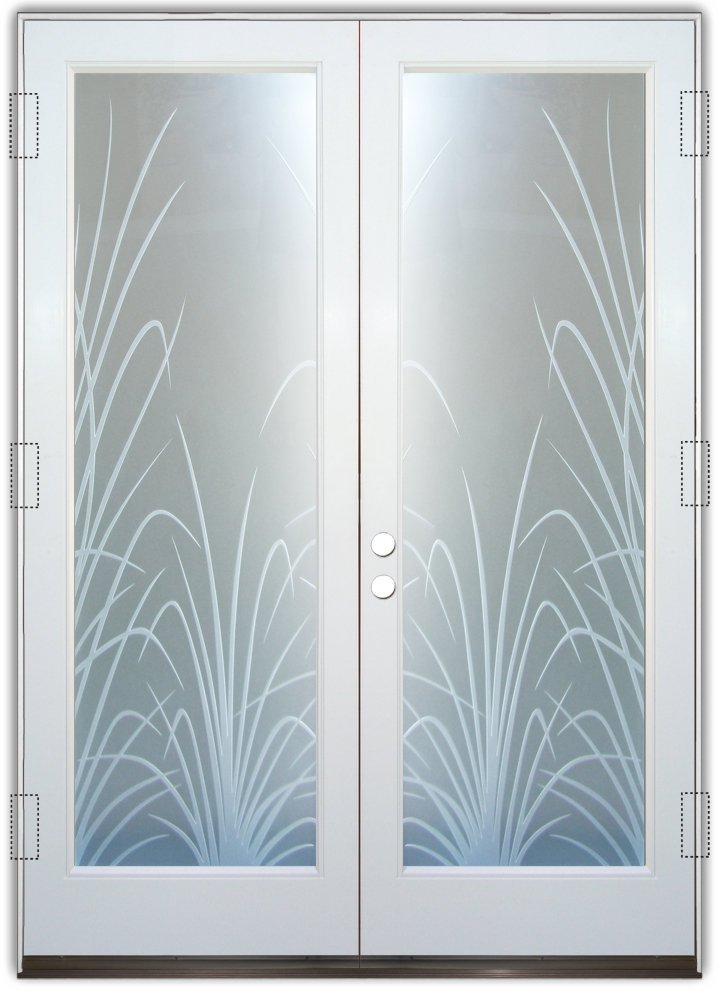 Blue Frosted Glass Entrance Door