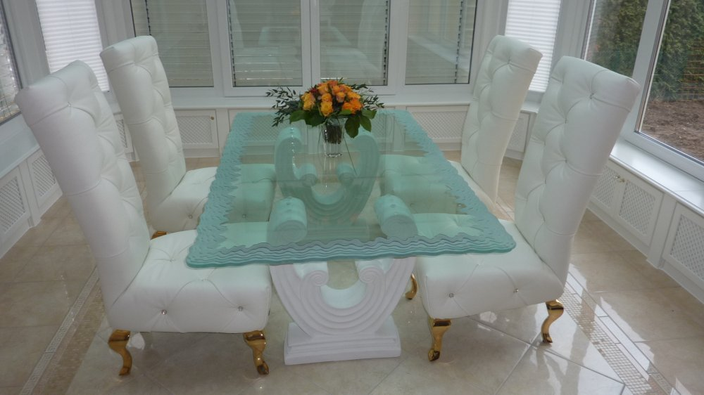 Tables sans soucie art glass Dining room furniture glass