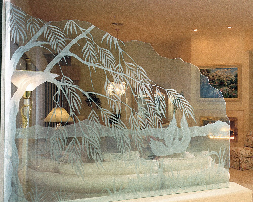 decorative glass partitions etched swans