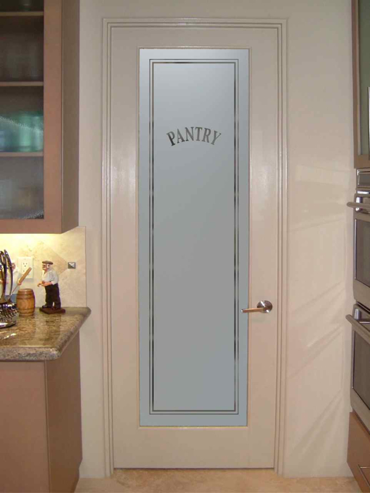 maple frosted glass pantry door for contemporary kitchen | Glass Front Doors - Sans Soucie Art Glass