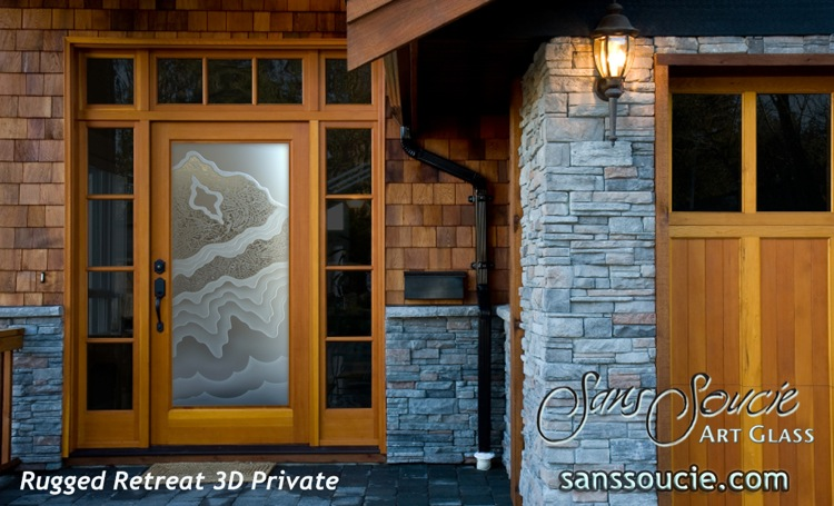 glass front doors etched glass rustic style mountain design rugged