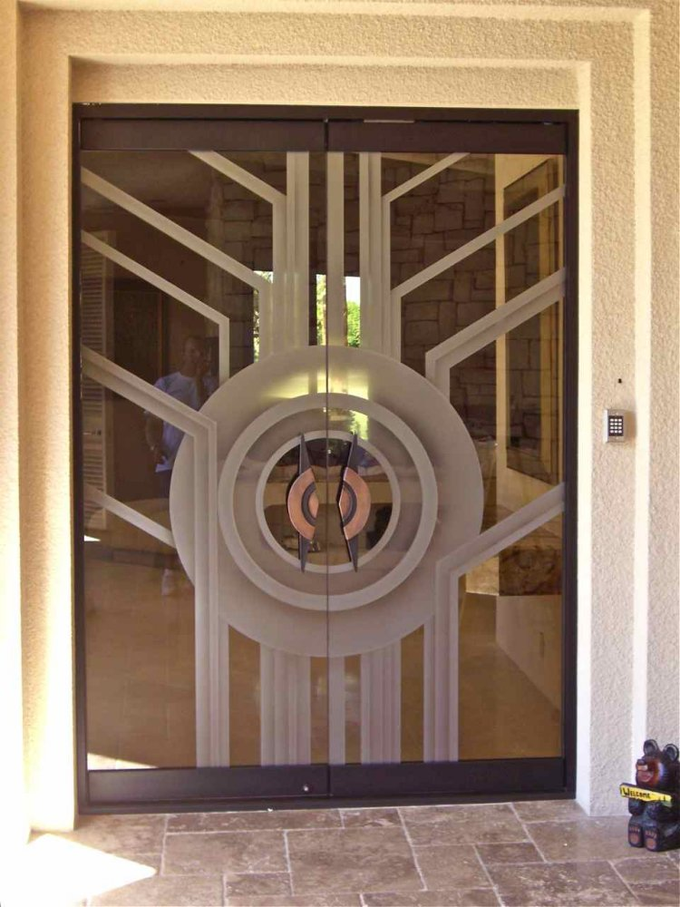 Double entry doors sans soucie art glass for All glass front door