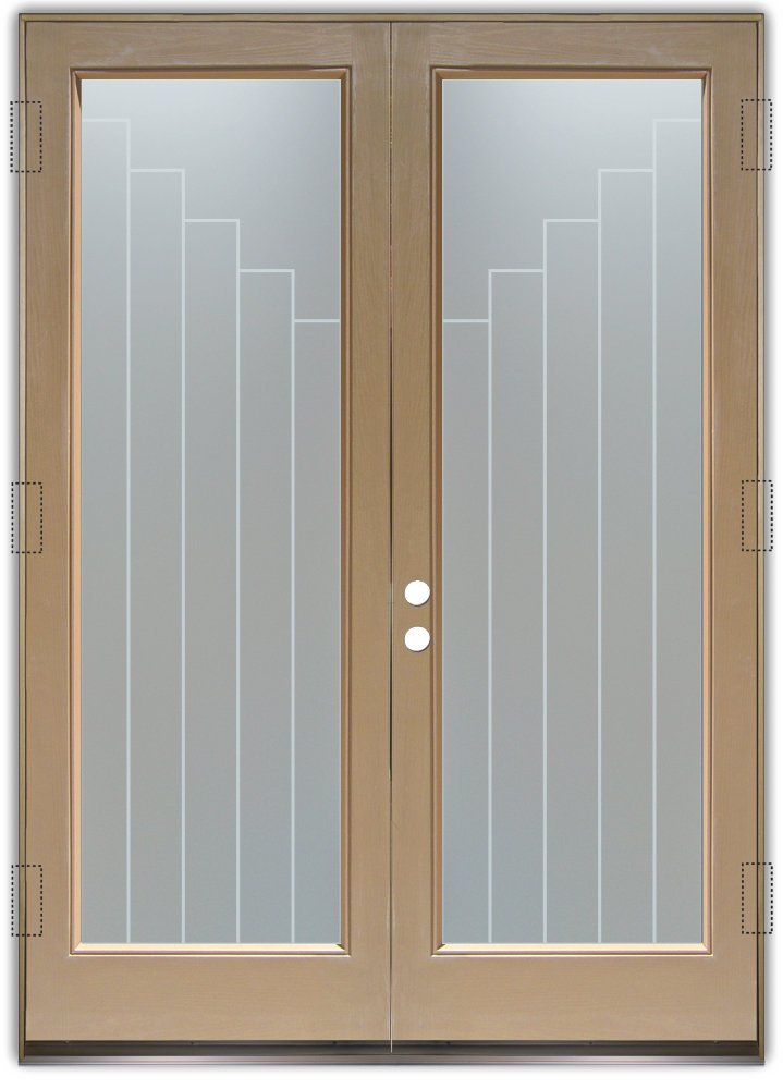 Towers Pinstripe Modern Decor Interior Etched Glass Doors
