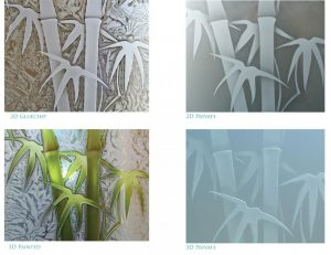Bamboo Shoots Asian Decor Etched Glass Close Ups