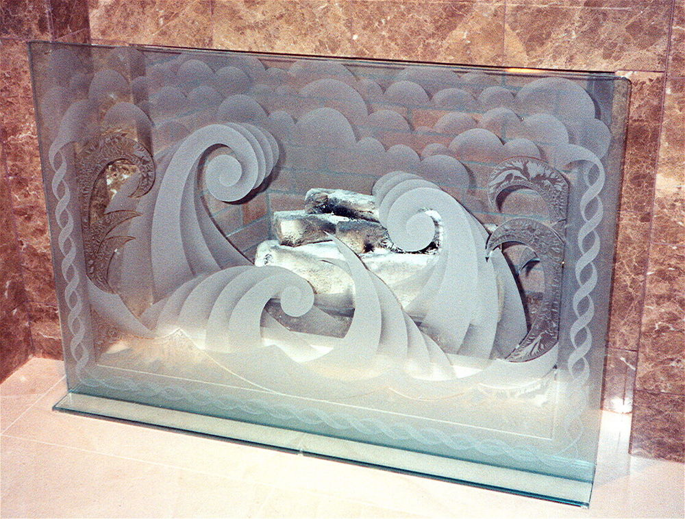 Glass Fireplace Screen Decorative Etched Glass Ocean