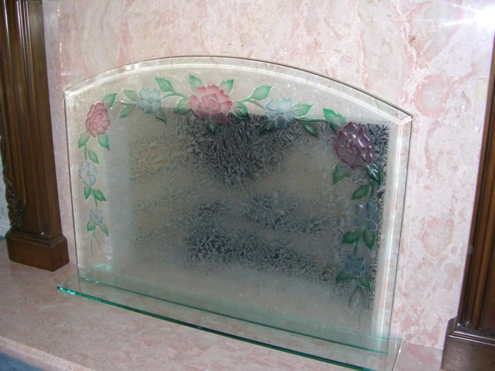 glass fireplace screen carved and painted glass trellised roses