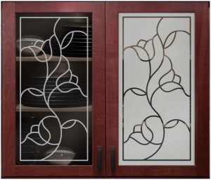 Faux Leaded Roses Cabinet Glass