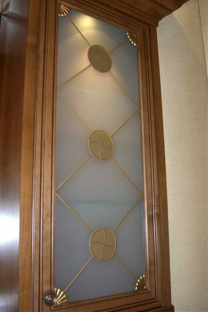 Curio Frosted Cabinet Glass Decorative Glass Inserts By
