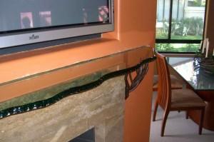 Glass Shelf Shelving - Chipped Edge Glass Fireplace Mantel Shelf
