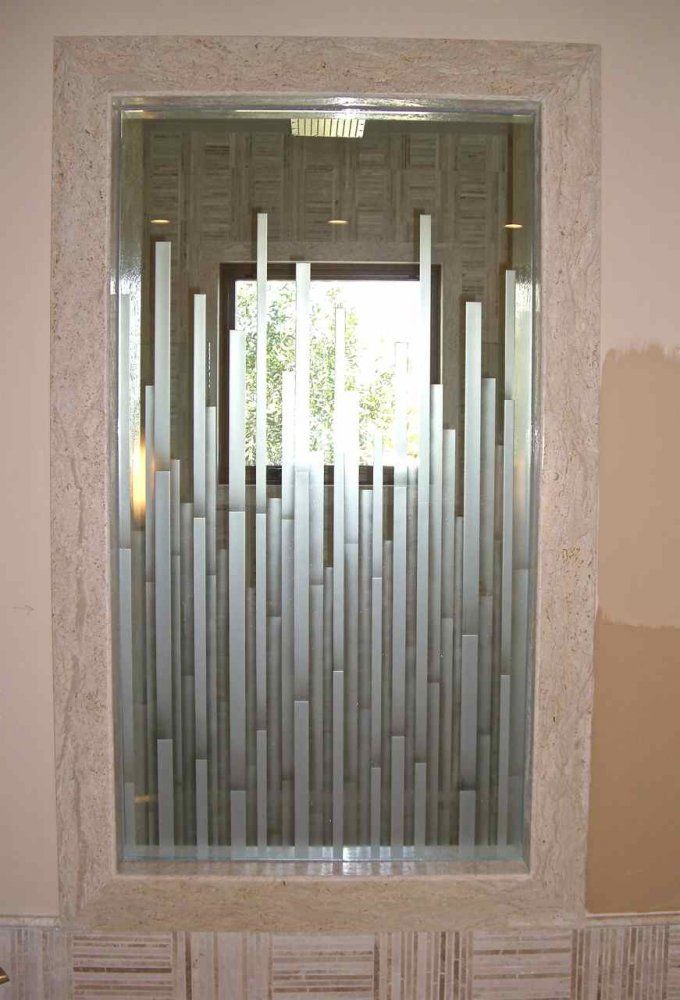 Mosaics Glass Shower Doors Etched Moroccan Style