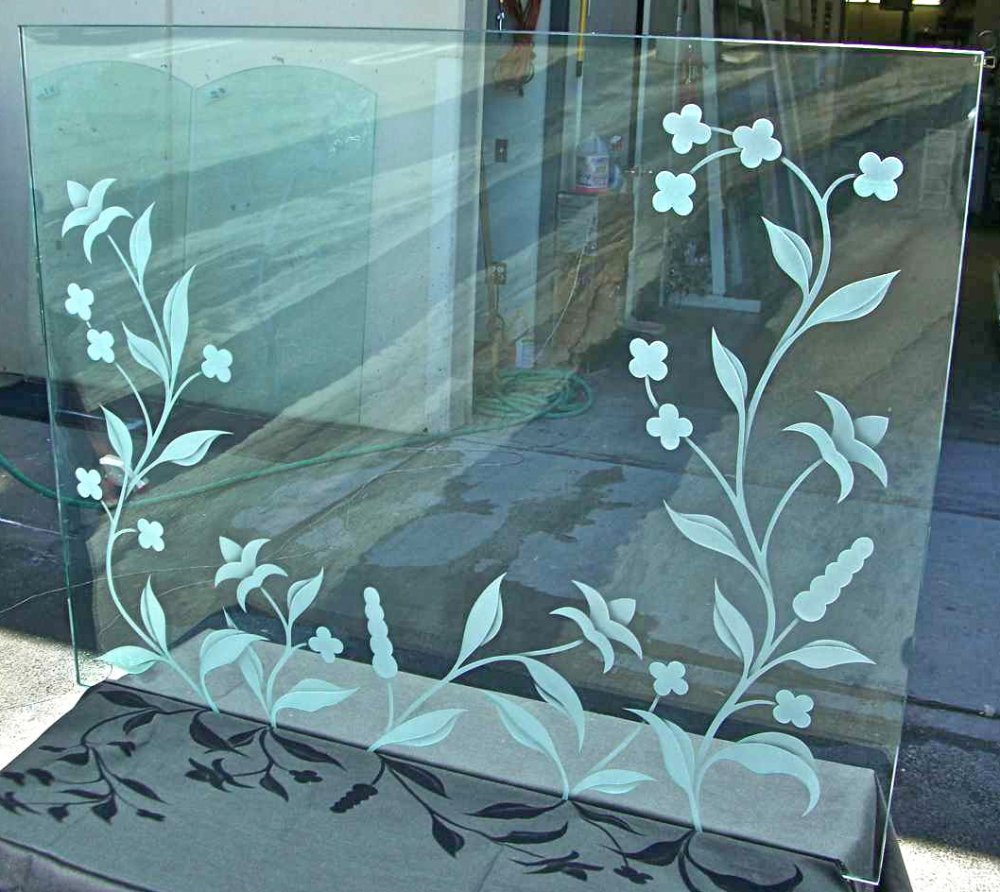 Glass Fireplace Screen 3d Carved Delicate Flowers By