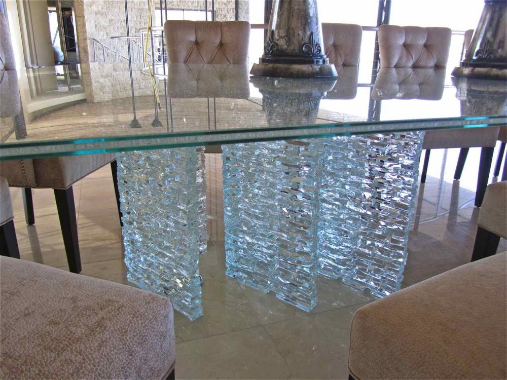 Shattered glass starphire clear 85x159 sans soucie Glass furniture tops