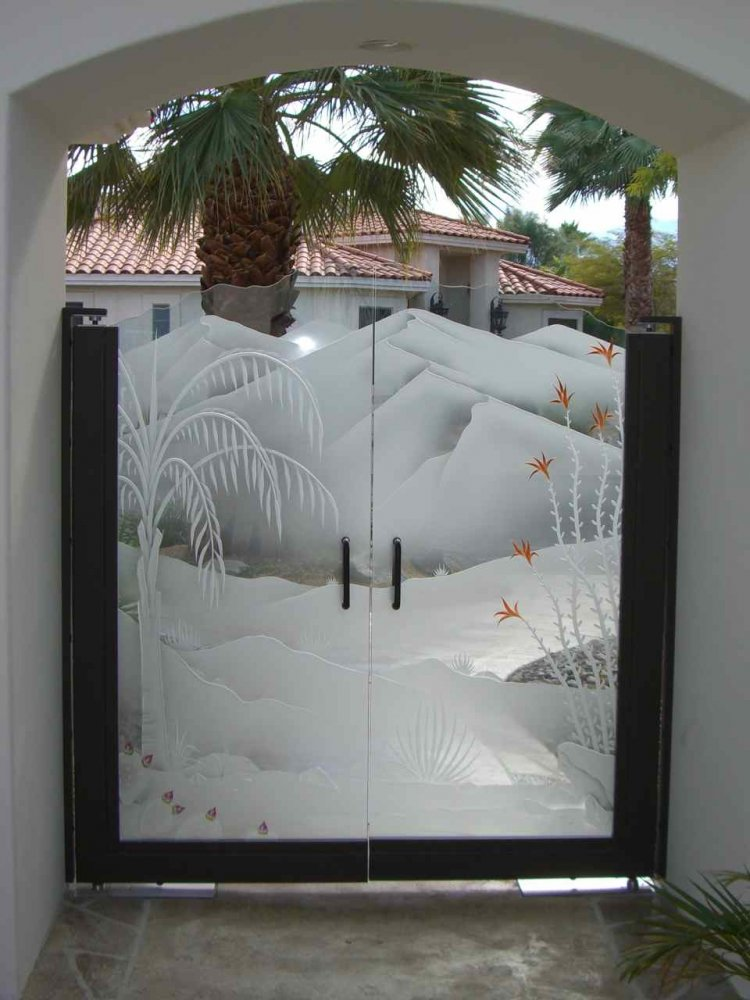 Gate Glass Etched 3d Carved Painted Desert Ocotillo Queen
