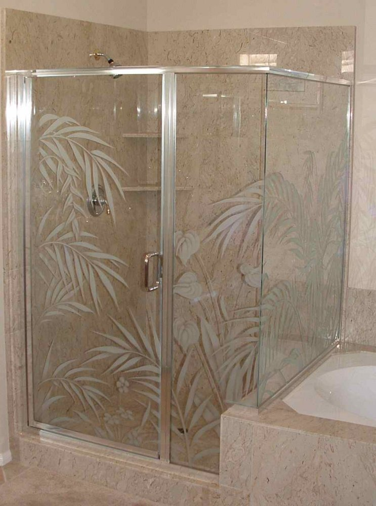 Decorative Floral Glass Shower Door Custom Showers Frosted Glass Tropical Decor Trees Outdoors Ferns
