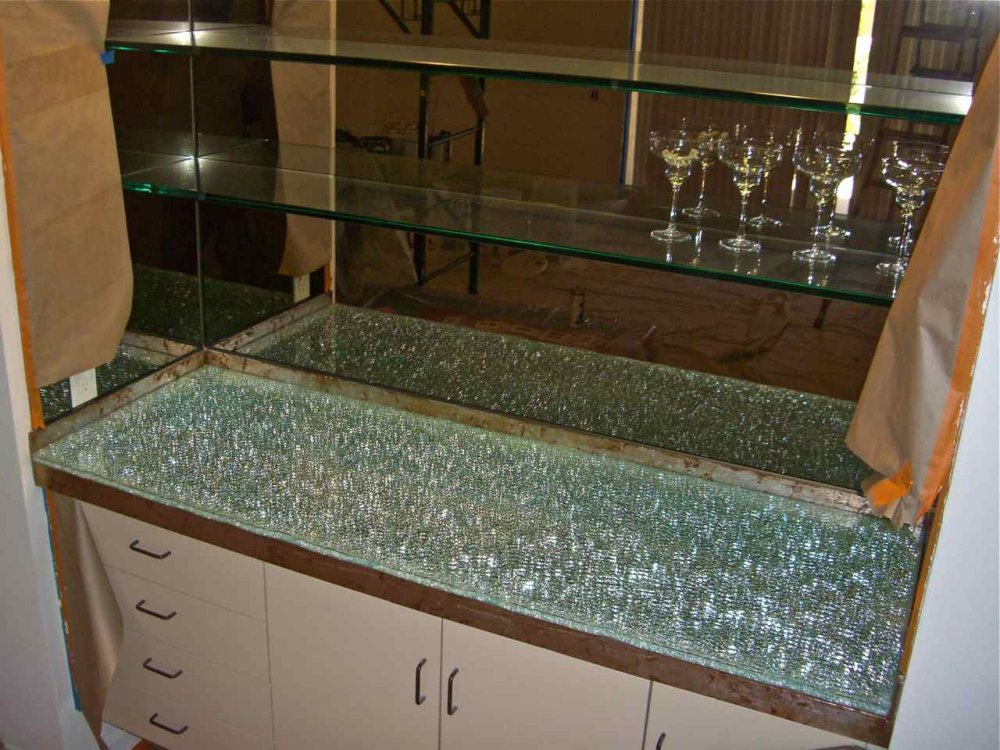 shattered glass bar top  starphire over clear mirror
